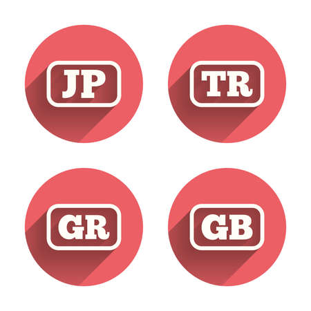 tr: Language icons. JP, TR, GR and GB translation symbols. Japan, Turkey, Greece and England languages. Pink circles flat buttons with shadow. Vector