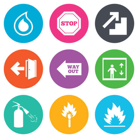 safety circle: Fire safety, emergency icons. Fire extinguisher, exit and stop signs. Elevator, water drop and match symbols. Flat circle buttons. Vector
