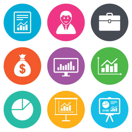 Statistics, accounting icons. Charts, presentation and pie chart signs. Analysis, report and business case symbols. Flat circle buttons. Vector