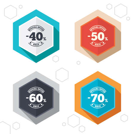 50 to 60: Hexagon buttons. Sale discount icons. Special offer stamp price signs. 40, 50, 60 and 70 percent off reduction symbols. Labels with shadow. Vector