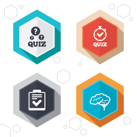 poll: Hexagon buttons. Quiz icons. Human brain think. Checklist and stopwatch timer symbol. Survey poll or questionnaire feedback form sign. Labels with shadow. Vector