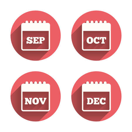sep: Calendar icons. September, November, October and December month symbols. Date or event reminder sign. Pink circles flat buttons with shadow. Vector
