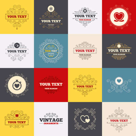 palpitation: Vintage frames, labels. Heart ribbon icon. Timer stopwatch symbol. Love and Heartbeat palpitation signs. Scroll elements. Vector