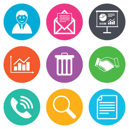 office documents: Office, documents and business icons. Businessman, handshake and call signs. Chart, presentation and mail symbols. Flat circle buttons. Vector Illustration