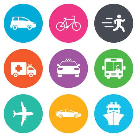 ambulancia: Iconos del transporte. Coche, bicicleta, autob�s y taxi signos. la entrega del env�o, s�mbolos de ambulancia. botones planos c�rculo. Vector