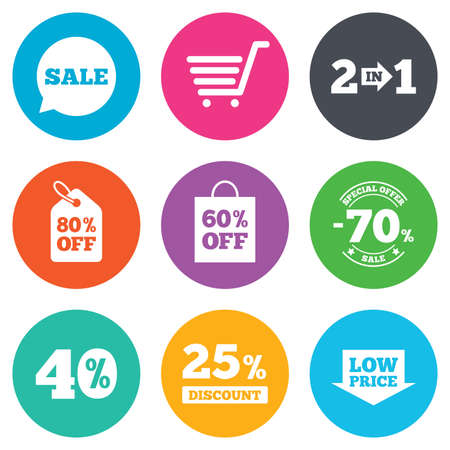 low price: Sale discounts icon. Shopping cart, coupon and low price signs. 25, 40 and 60 percent off. Special offer symbols. Flat circle buttons. Vector