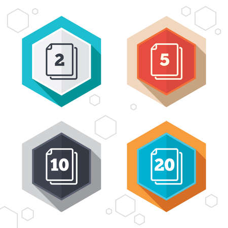 quantity: Hexagon buttons. In pack sheets icons. Quantity per package symbols. 2, 5, 10 and 20 paper units in the pack signs. Labels with shadow. Vector Illustration