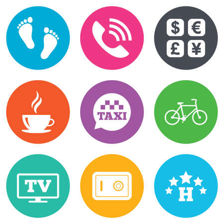 strongbox: Hotel, apartment services icons. Coffee sign. Phone call, kid-friendly and safe strongbox symbols. Flat circle buttons. Vector