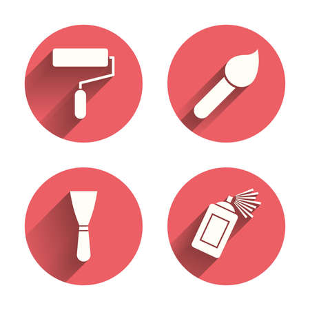 Paint roller, brush icons. Spray can and Spatula signs. Wall repair tool and painting symbol. Pink circles flat buttons with shadow. Vector Ilustracja