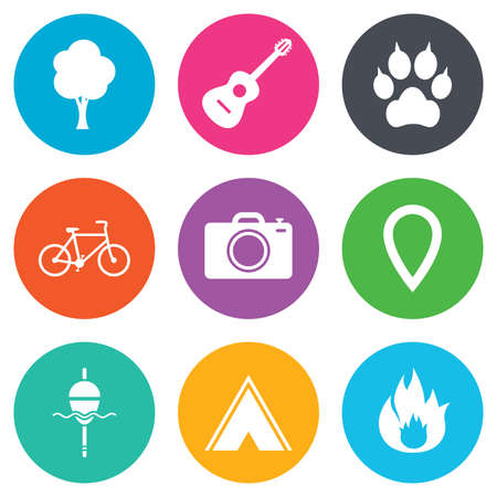 clutches: Tourism, camping icons. Fishing, fire and bike signs. Guitar music, photo camera and paw with clutches. Flat circle buttons. Vector Illustration