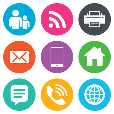 internet icons: Contact, mail icons. Communication signs. E-mail, chat message and phone call symbols. Flat circle buttons. Vector