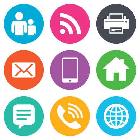 iconos: Contacto, iconos del correo. muestras de la comunicaci�n. E-mail, chat de mensajes y de llamadas telef�nicas s�mbolos. botones planos c�rculo. Vector
