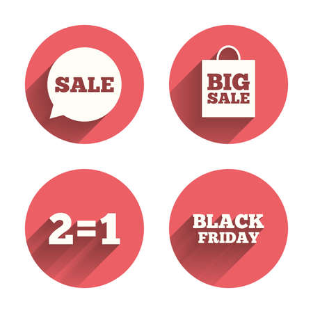 equals: Sale speech bubble icons. Two equals one. Black friday sign. Big sale shopping bag symbol. Pink circles flat buttons with shadow. Vector Illustration