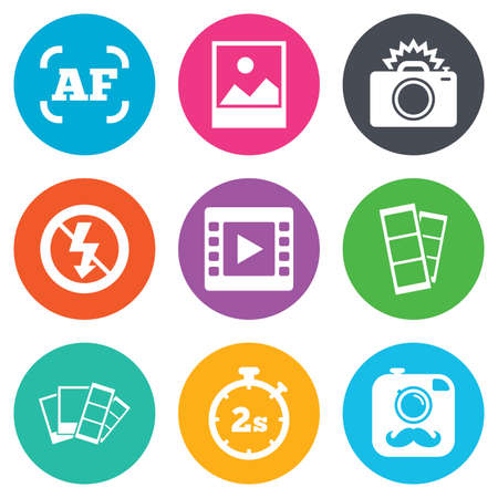 auto focus: Photo, video icons. Camera, photos and frame signs. No flash, timer and strips symbols. Flat circle buttons. Vector