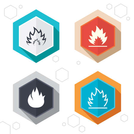 Hexagon buttons. Fire flame icons. Heat symbols. Inflammable signs. Labels with shadow. Vector Illustration