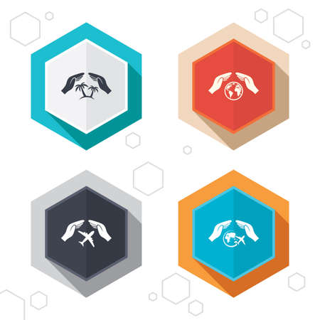 world  hexagon: Hexagon buttons. Hands insurance icons. Palm trees symbol. Travel trip flight insurance symbol. World globe sign. Labels with shadow. Vector