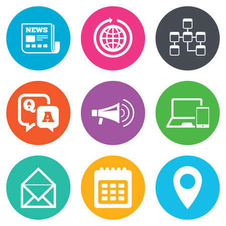 Communication icons. News, chat messages and calendar signs. E-mail, question and answer symbols. Flat circle buttons. Vector