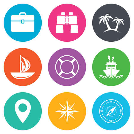 orange rose: Cruise trip, ship and yacht icons. Travel, cocktails and palm trees signs. Sunglasses, windrose and swimming symbols. Flat circle buttons. Vector