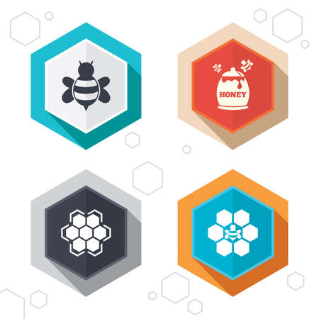 pollination: Hexagon buttons. Honey icon. Honeycomb cells with bees symbol. Sweet natural food signs. Labels with shadow. Vector