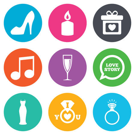 champagne orange: Wedding, engagement icons. Ring with diamond, gift box and music signs. Dress, shoes and champagne glass symbols. Flat circle buttons. Vector
