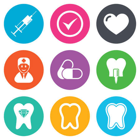 stomatology: Tooth, dental care icons. Stomatology, syringe and implant signs. Healthy teeth, dentist and pills symbols. Flat circle buttons. Vector