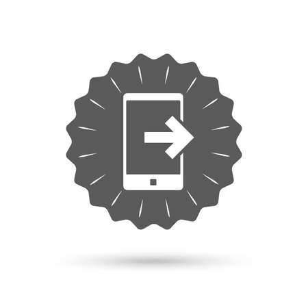 outcoming: Vintage emblem medal. Outcoming call sign icon. Smartphone symbol. Classic flat icon. Vector