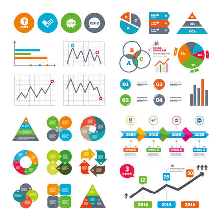 kwis: Business data pie charts graphs. Quiz icons. Speech bubble with check mark symbol. Explosion boom sign. Market report presentation. Vector