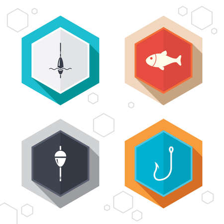 bobber: Hexagon buttons. Fishing icons. Fish with fishermen hook sign. Float bobber symbol. Labels with shadow. Vector