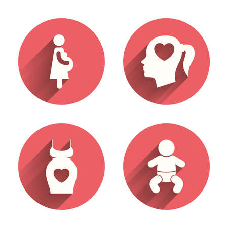 maternity: Maternity icons. Baby infant, pregnancy and dress signs. Head with heart symbol. Pink circles flat buttons with shadow. Vector