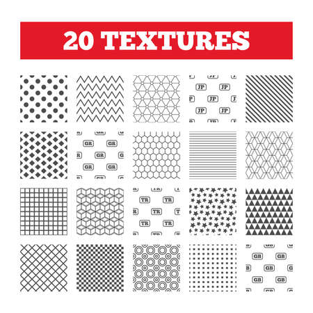 tr: Seamless patterns. Endless textures. Language icons. JP, TR, GR and GB translation symbols. Japan, Turkey, Greece and England languages. Geometric tiles, rhombus. Vector