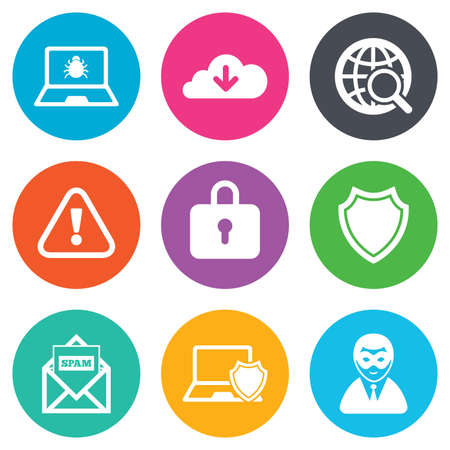 cyber attack: Internet privacy icons. Cyber crime signs. Virus, spam e-mail and anonymous user symbols. Flat circle buttons. Vector Illustration