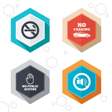Hexagon buttons. Stop smoking and no sound signs. Private territory parking or public access. Cigarette and hand symbol. Labels with shadow. Vector