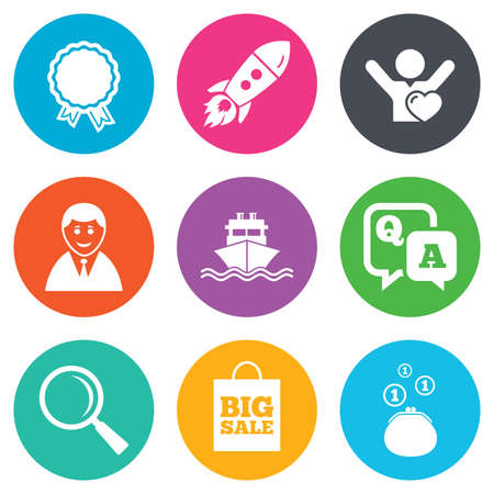 medal like: Online shopping, e-commerce and business icons. Startup, award and customers like signs. Cash money, shipment and sale symbols. Flat circle buttons. Vector