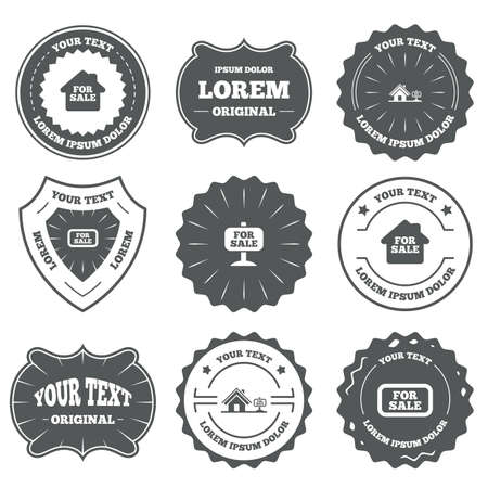 house for sale: Vintage emblems, labels. For sale icons. Real estate selling signs. Home house symbol. Design elements. Vector
