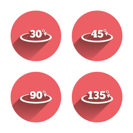 Angle 30-135 degrees icons. Geometry math signs symbols. Full complete rotation arrow. Pink circles flat buttons with shadow. Vector Illusztráció
