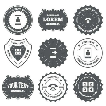 video call: Vintage emblems, labels. Phone icons. Smartphone video call sign. Call center support symbol. Cellphone keyboard symbol. Design elements. Vector