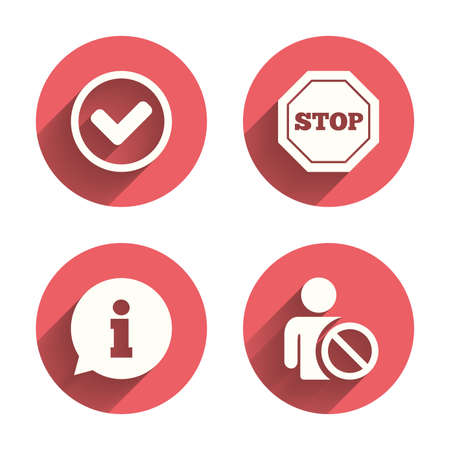 blacklist: Information icons. Stop prohibition and user blacklist signs. Approved check mark symbol. Pink circles flat buttons with shadow. Vector Illustration
