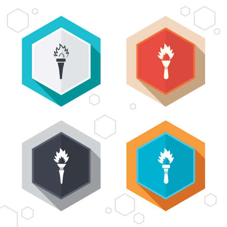 hand tool: Hexagon buttons. Torch flame icons. Fire flaming symbols. Hand tool which provides light or heat. Labels with shadow. Vector