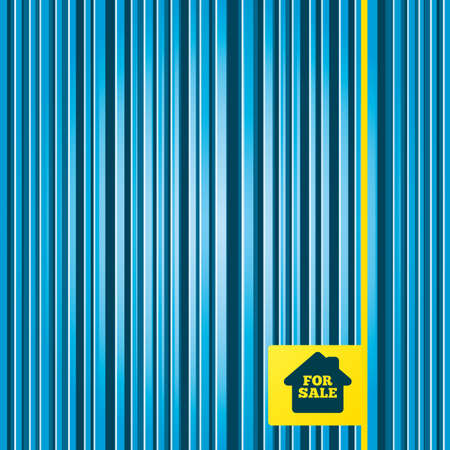 selling: Lines blue background. For sale sign icon. Real estate selling. Yellow tag label. Vector
