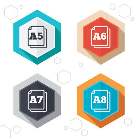 a7: Hexagon buttons. Paper size standard icons. Document symbols. A5, A6, A7 and A8 page signs. Labels with shadow. Vector