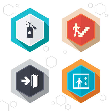 Hexagon buttons. Emergency exit icons. Fire extinguisher sign. Elevator or lift symbol. Fire exit through the stairwell. Labels with shadow. Vector Stock Illustratie