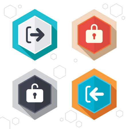 sign out: Hexagon buttons. Login and Logout icons. Sign in or Sign out symbols. Lock icon. Labels with shadow. Vector