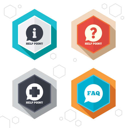 medical questions: Hexagon buttons. Help point icons. Question and information symbols. FAQ speech bubble signs. Labels with shadow. Vector