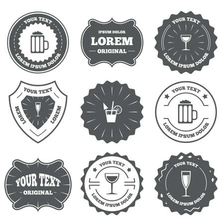 alcoholic drinks: Vintage emblems, labels. Alcoholic drinks icons. Champagne sparkling wine and beer symbols. Wine glass and cocktail signs. Design elements. Vector