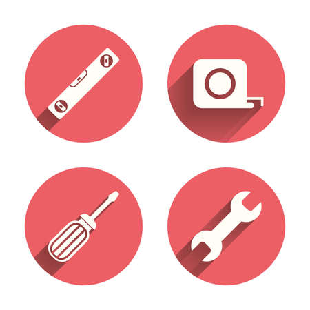 spirit level: Screwdriver and wrench key tool icons. Bubble level and tape measure roulette sign symbols. Pink circles flat buttons with shadow. Vector