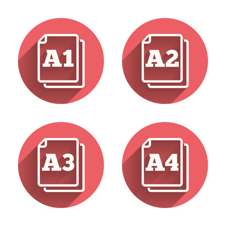 a2: Paper size standard icons. Document symbols. A1, A2, A3 and A4 page signs. Pink circles flat buttons with shadow. Vector