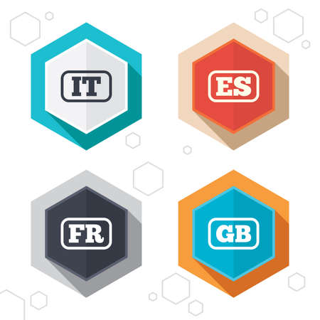 vector es: Hexagon buttons. Language icons. IT, ES, FR and GB translation symbols. Italy, Spain, France and England languages. Labels with shadow. Vector