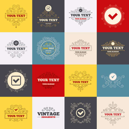 checkbox: Vintage frames, labels. Check icons. Checkbox confirm circle sign symbols. Scroll elements. Vector Illustration