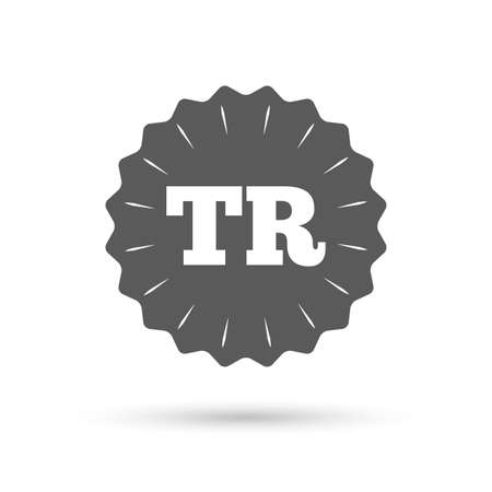 tr: Vintage emblem medal. Turkish language sign icon. TR Turkey translation symbol. Classic flat icon. Vector Illustration