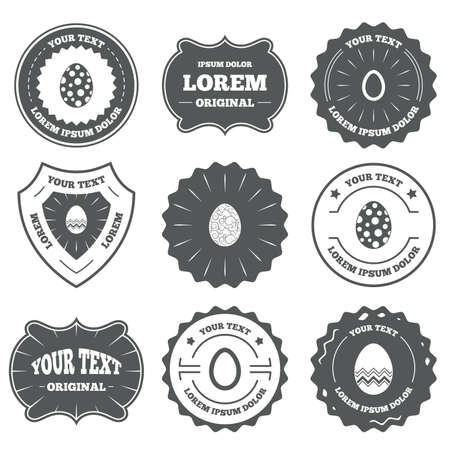 pasch: Vintage emblems, labels. Easter eggs icons. Circles and floral patterns symbols. Tradition Pasch signs. Design elements. Vector